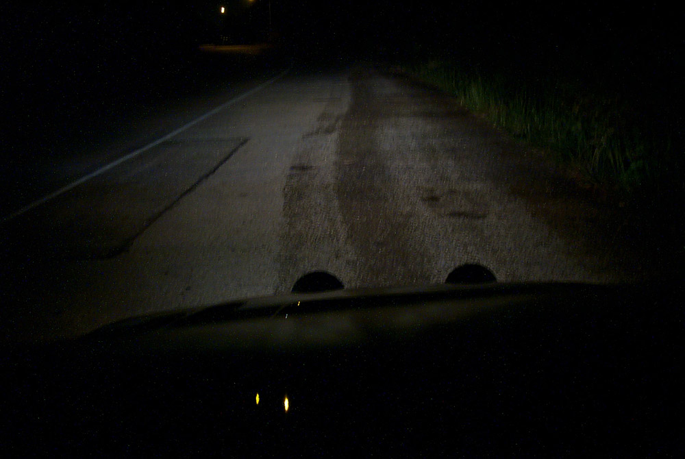 Headlights only, projected on the road