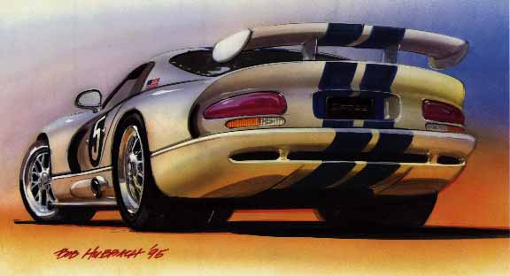 Drawing of rear view of Viper GTS-R